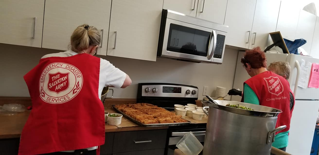 Port Alberni Salvation Army Works preparing food during COVID